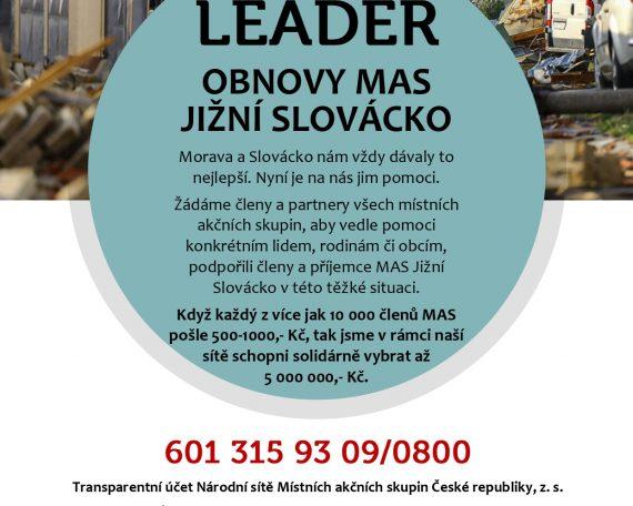 Tornádo Výzva LEADER obnovy pro MAS Jižní Slovácko